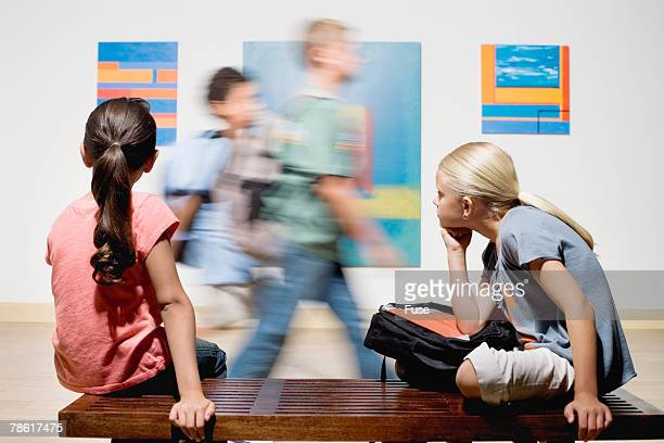 elementary students at art gallery - bokeh museum stock photos and pictures