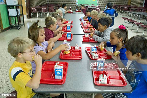 Elementary students eat breakfast at Paint Creek school in rural Haskell County TX northeast of Abilene where Texas Governor and presidential...