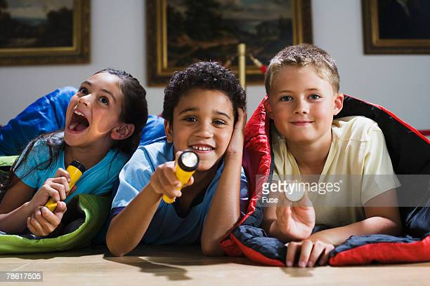 Elementary Students Having Slumber Party at Art Gallery