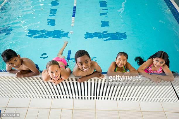 Elementary Students Taking a Swim Class