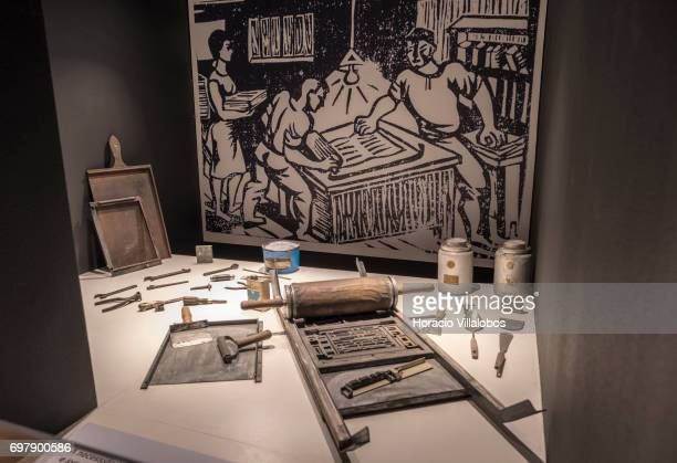 Elements of a clandestine printing shop to produce resistance publications against Portuguese dictatorship are seen on display at the Aljube Museum...