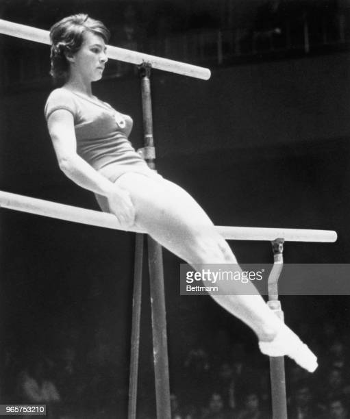 Elen Popescu Romania on the uneven parallel bars during Women's Compulsory excercises