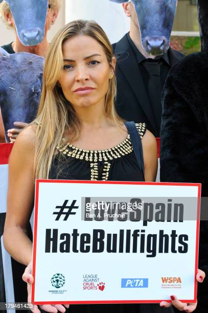 Elen Rivas presents a petition opposing bullfighting at the Spanish Embassy on September 4 2013 in London England