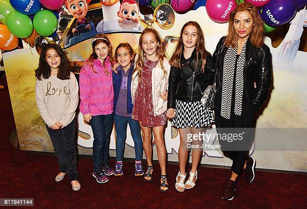 Elen Rivas with daughters Isla and Luna and guests attends a multimedia screening of Storks at Cineworld Leicester Square on October 2 2016 in London...