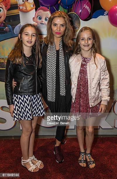 Elen Rivas with daughters Isla and Luna Coco attend a multimedia screening of Storks at Cineworld Leicester Square on October 2 2016 in London England