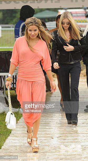 Elen Rives and Caprice Bourret attend The 2012 Duke of Essex Polo Trophy Photocall at Gaynes Park on July 14 2012 in Epping England