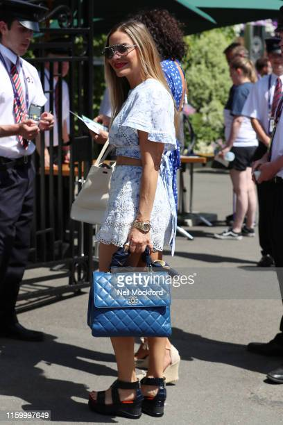 Elen Rives attends day 4 of the Wimbledon 2019 Tennis Championships at All England Lawn Tennis and Croquet Club on July 04 2019 in London England