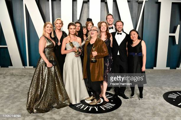 Elena Andreicheva and Carol Dysinger attend the 2020 Vanity Fair Oscar Party hosted by Radhika Jones at Wallis Annenberg Center for the Performing...
