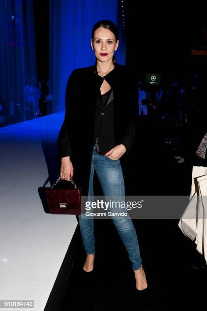 Elena Ballesteros is seen at the Alvarno show during the MercedesBenz Fashion Week Madrid Autumn/Winter 201819 at Ifema on January 25 2018 in Madrid...
