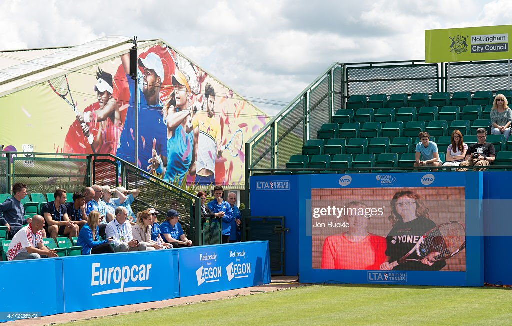 Elena Baltacha memorial video is shown on video screen during the trophy presentation of the women's final on day eight of the WTA Aegon Open Nottingham at Nottingham Tennis Centre on June 15, 2015 in Nottingham, England.