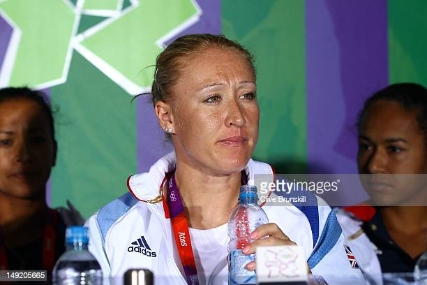 Elena Baltacha of Great Britain attends a Team GB Press Conference during a practice session ahead of the 2012 London Olympic Games at the All...