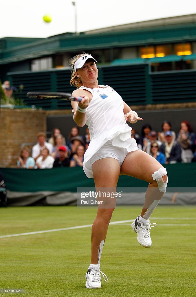 Elena Baltacha of Great Britain celebrates match point after winning her Ladies' Singles first round match against Karin Knapp of Italy on day two of the Wimbledon Lawn Tennis Championships at the All England Lawn Tennis and Croquet Club on June 26, 2012 in London, England.