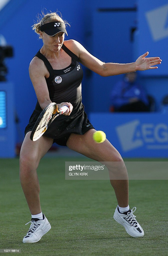 Elena Baltacha of Great Britain hits a s