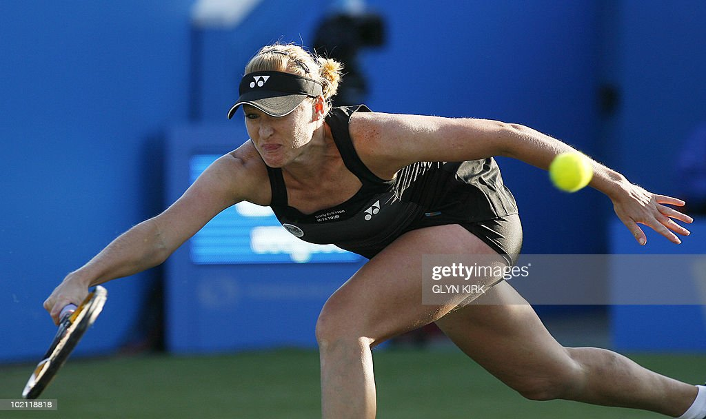 Elena Baltacha of Great Britain hits a shot during her women's first round singles match against Na Li of China on the second day of the AEGON International tennis tournament in Eastbourne, southern England, on June 15, 2010.