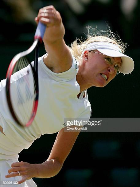 Elena Baltacha of Great Britain in action during her second round match against Jennifer Capriati of USA at the Wimbledon Lawn Tennis Championship on...