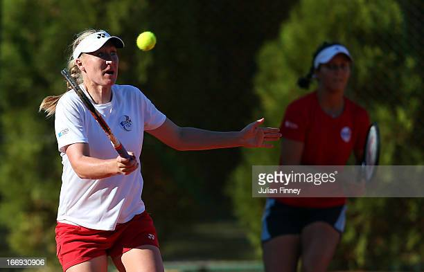 Elena Baltacha of Great Britain plays a volley in a practice session during previews ahead of the Fed Cup World Group Two PlayOffs between Argentina...