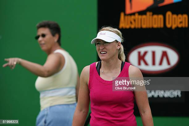 Elena Baltacha of Great Britain practices on court with her coach Jo Durie during a training session prior to the Australian Open Grand Slam at...
