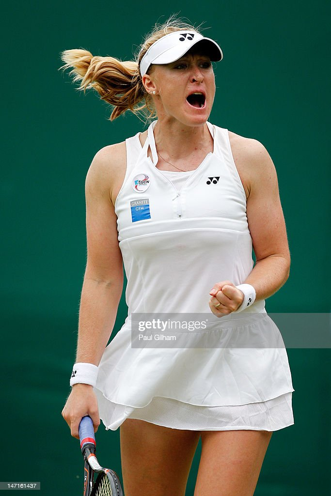 Elena Baltacha of Great Britain reacts during her Ladies' Singles first round match against Karin Knapp of Italy on day two of the Wimbledon Lawn Tennis Championships at the All England Lawn Tennis and Croquet Club on June 26, 2012 in London, England.
