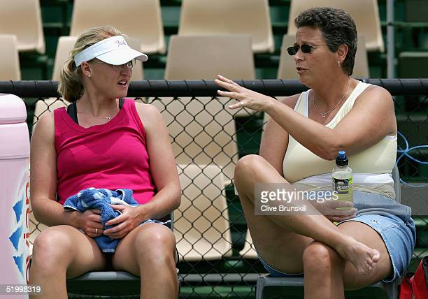 Elena Baltacha of Great Britain relaxes with her coach Jo Durie during a training session prior to the Australian Open Grand Slam at Melbourne Park...