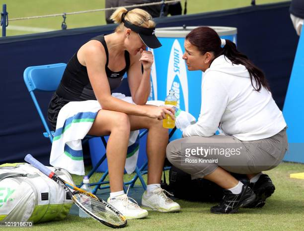 Elena Baltacha of Great Britain retires due to illness during the first round match match at The AEGON Classic between Elena Baltacha and Kaia Kanepi...