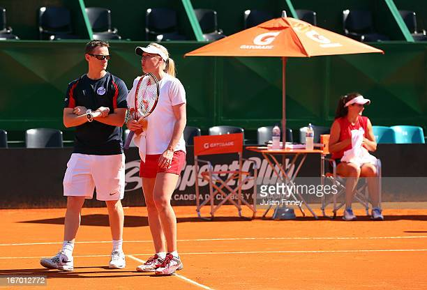 Elena Baltacha with a LTA coach in a practice session during previews ahead of the Fed Cup World Group Two PlayOffs between Argentina and Great...