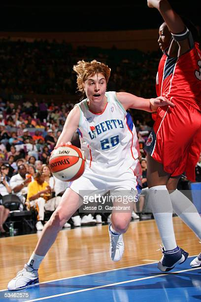 Elena Baranova of the New York Liberty drives against the Charlotte Sting on August 25 2005 at Madison Square Garden in New York City NOTE TO USER...