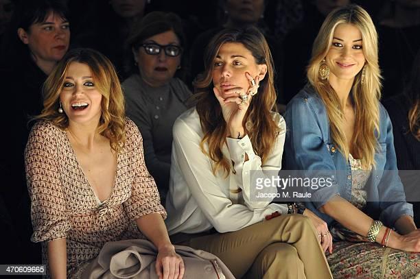 Elena Barolo Alessandra Grillo and Elena Santarelli attend the Kristina Ti Show during Milan Fashion Week Womenswear Autumn/Winter 2014 on February...