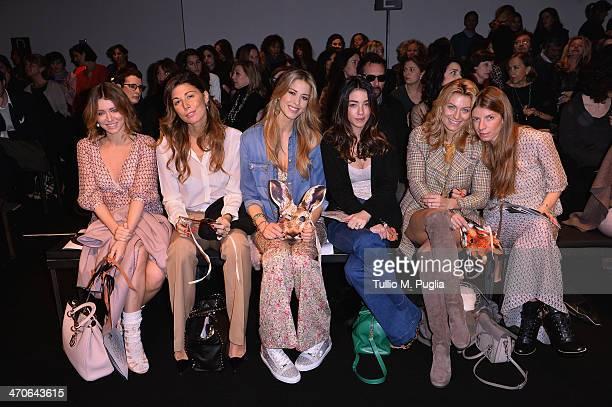 Elena Barolo, Alessandra Grillo, Elena Santarelli, Valentina Scambia, Federica Fontana and Virginia Galateri attend the Kristina Ti Show during Milan...