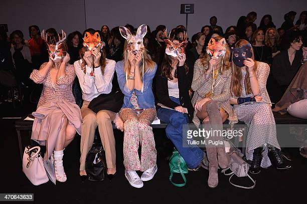 Elena Barolo Alessandra Grillo Elena Santarelli Valentina Scambia Federica Fontana and Virginia Galateri attend the Kristina Ti Show during Milan...