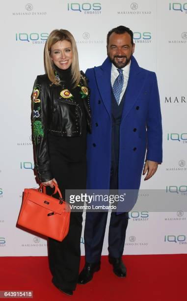 Elena Barolo and Alessandro Martorana attend a party for Mariano Di Vaio's blog on February 22 2017 in Milan Italy