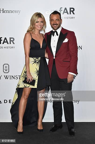 Elena Barolo and Alessandro Martorana walk the red carpet of amfAR Milano 2016 at La Permanente on September 24 2016 in Milan Italy