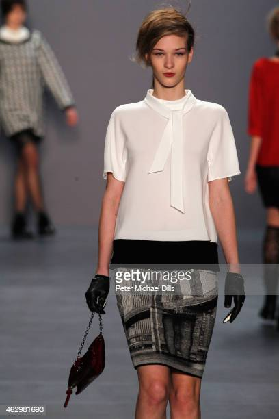 Elena Bartels walks the runway at the Marc Cain show during MercedesBenz Fashion Week Autumn/Winter 2014/15 at Brandenburg Gate on January 16 2014 in...