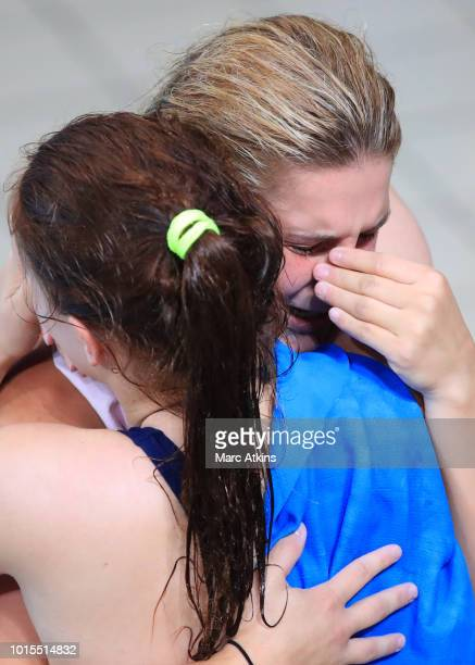 Elena Bertocchi and Chiara Pellacani of Italy react after winning Gold during the Women's 3m Synchronised Springboard Final during the diving on Day...