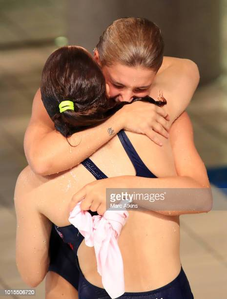 Elena Bertocchi and Chiara Pellacani of Italy react in the Women's 3m Synchronised Springboard Final during the diving on Day eleven of the European...