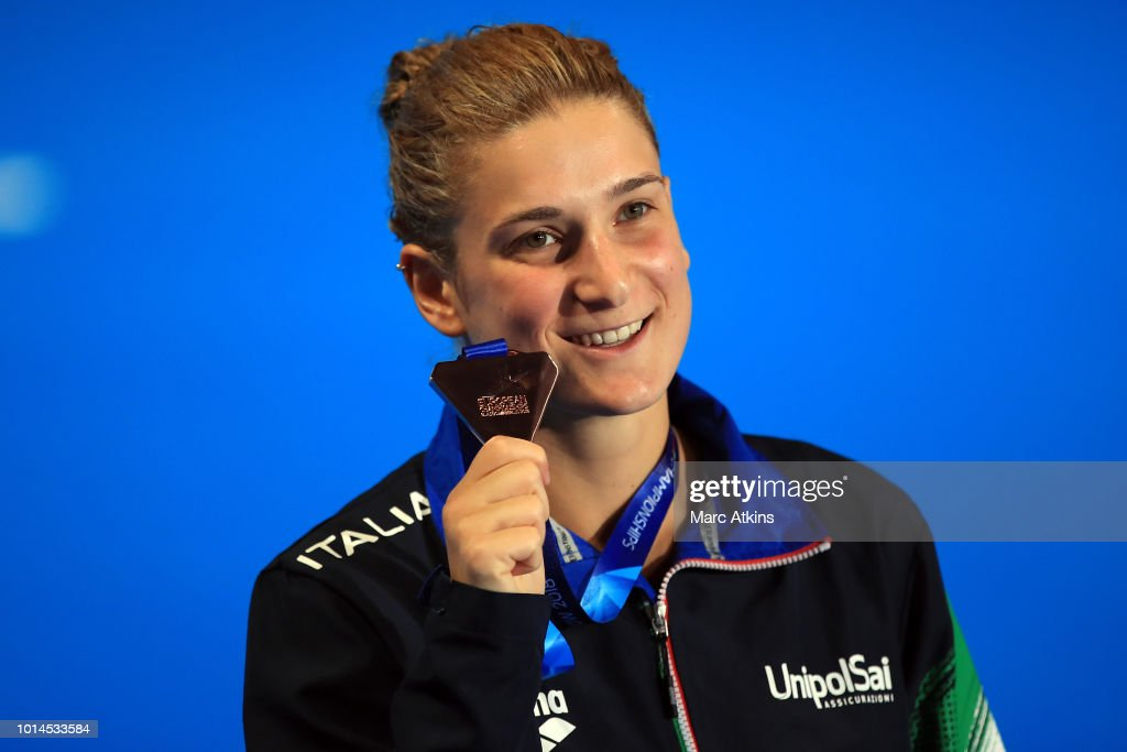 Elena Bertocchi of Italy celebrates with her medal after winning the bronze during the Women's 1m Springboard Final on Day Nine of the European Championships Glasgow 2018 at Royal Commonwealth Pool on August 10, 2018 in Edinburgh, Scotland. This event forms part of the first multi-sport European Championships.