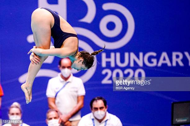 Elena Bertocchi of Italy competing at the Team Event Preliminary during the LEN European Aquatics Championships 1m Springboard Preliminary at Duna...