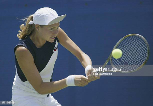 Elena Bovina of Russia returns a shot to Francesca Schiavone of Italy during the first round of the Acura Classic on July 26 2004 at La Costa Resort...