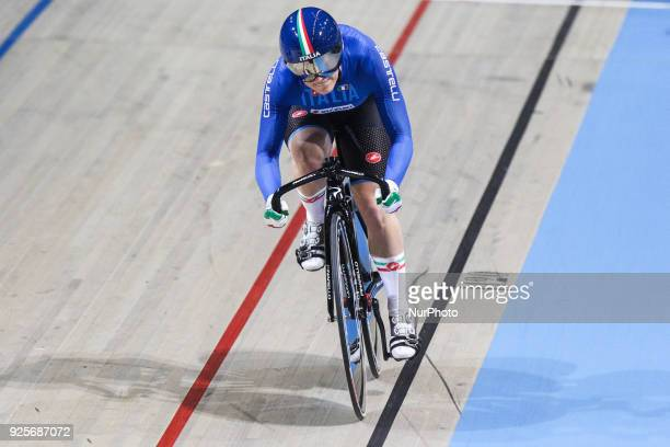 Elena Bssolati of Women`s team sprint competes at The UCI World Cycling Championships in Apeldoorn on February 28 2018