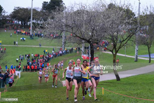 Elena Burkard of Germany and Charlotte Arter of Great Britain compete the Senior Women final race of the SPAR European Cross Country Championships at...