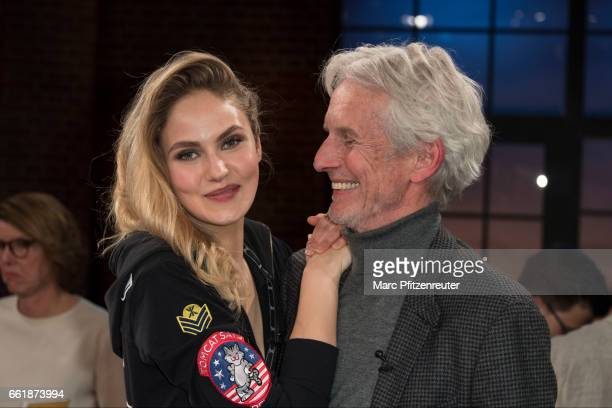 Elena Carriere and Mathieu Carriere attend the 'Koelner Treff' TV Show at the WDR Studio on March 31 2017 in Cologne Germany