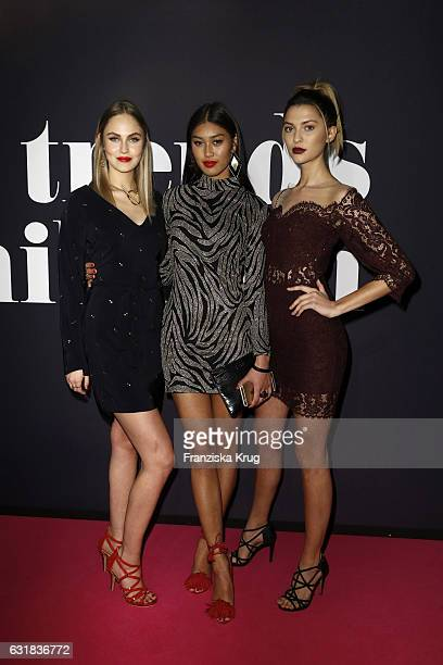 Elena Carriere Anuthida Ploypetch and Fata Hasanovic attend the Maybelline Hot Trendsxhibition 2017 show during the MercedesBenz Fashion Week Berlin...