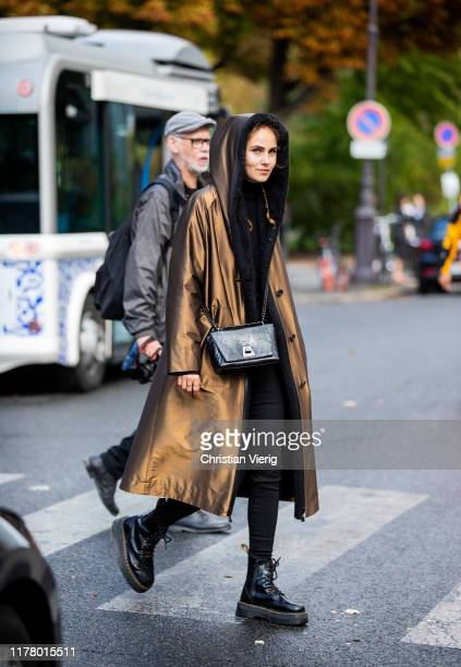 Elena Carriere is seen wearing hooded coat outside Akris during Paris Fashion Week Womenswear Spring Summer 2020 on September 29, 2019 in Paris,...