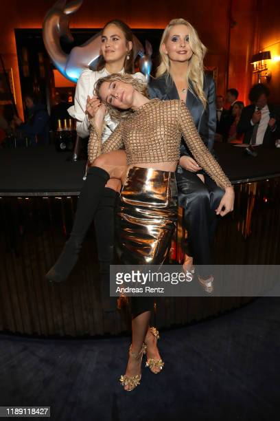 Elena Carriere, Kim Hnizdo and Anna Hiltrop attend the Tribute To Bambi after show party at Kurhaus Baden-Baden on November 20, 2019 in Baden-Baden,...