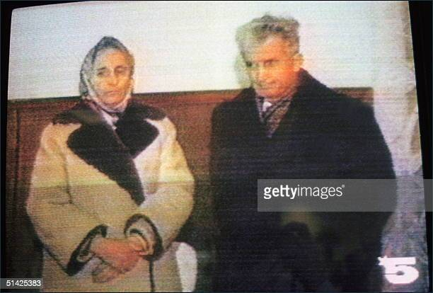 Elena Ceaucescu and her husband ousted Romanian party's general secretary and President Nicolae Ceaucescu's face TV camera 25 December 1989 in...