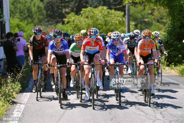 Elena Cecchini of Italy and Team Canyon SRAM Racing Best Italian rider jersey / KarolAnn Canuel of Canada and Boels Dolmans Cycling Team Green...
