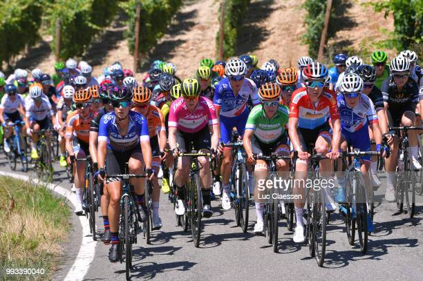 Elena Cecchini of Italy and Team Canyon SRAM Racing Best Italian rider jersey / Sarah Roy of Australia and Team MitcheltonScott Points Jersey /...