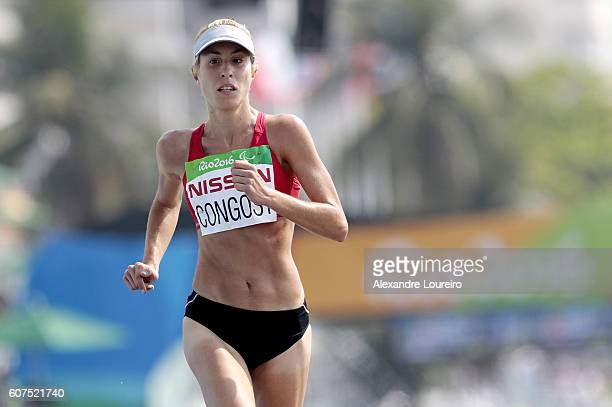 Elena Congost of Spain competes in the Women's Marathon T12 at Fort Copacabana on day 11 of the Rio 2016 Paralympic Games at on September 18 2016 in...