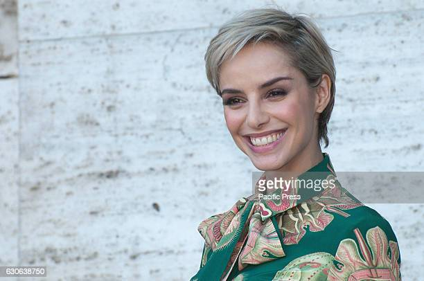 """Elena Cucci attends a photocall for """"Mister Felicita"""". Mister Felicità, a film directed by Alessandro Siani."""