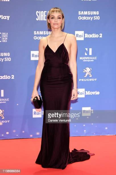Elena Cucci walks a red carpet ahead of the 64 David Di Donatello awards ceremony Red Carpet on March 27 2019 in Rome Italy