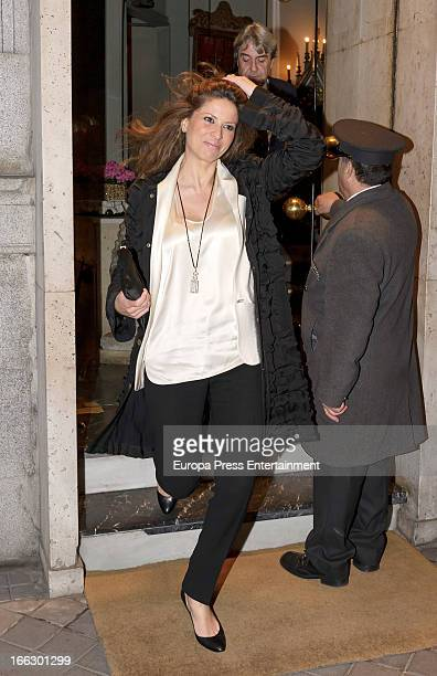 Elena Cue and Alberto Cortina are seen leaving a restaurant on April 10 2013 in Madrid Spain